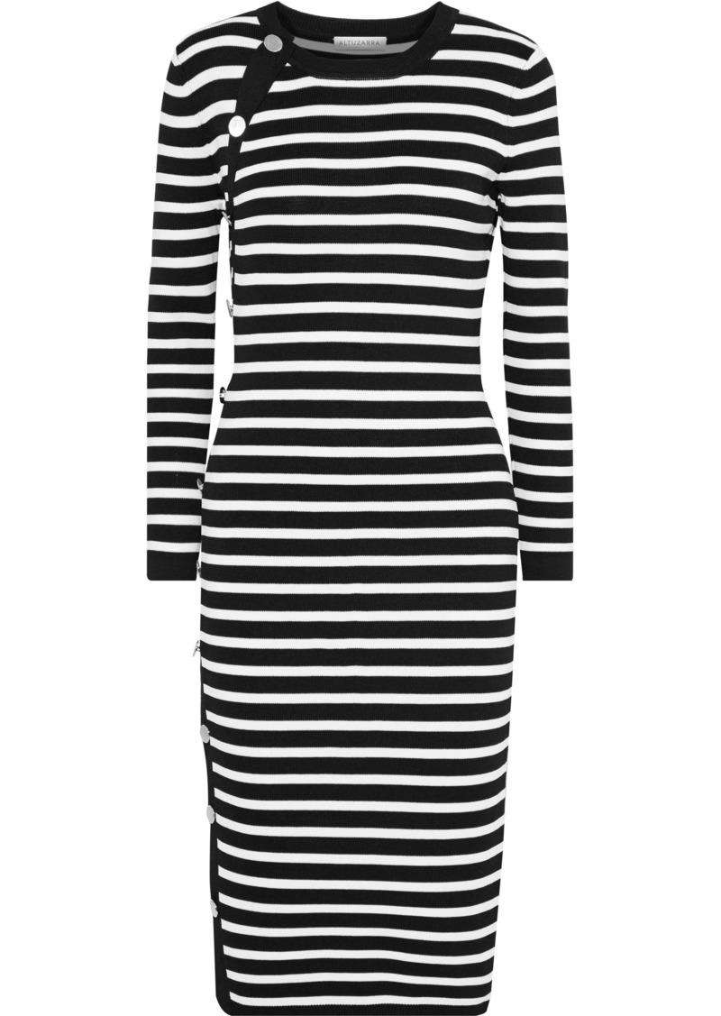 Altuzarra Woman Arzel Button-detailed Striped Stretch-knit Dress Black