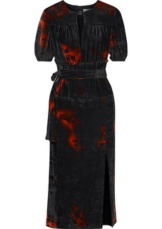 Altuzarra Woman Printed Velvet Midi Dress Anthracite