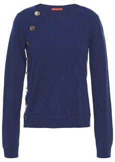 Altuzarra Woman Button-detailed Mélange Cashmere Sweater Navy