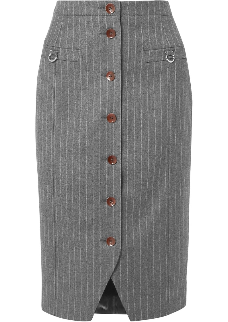 Altuzarra Woman Button-detailed Pinstriped Wool-blend Felt Pencil Skirt Anthracite
