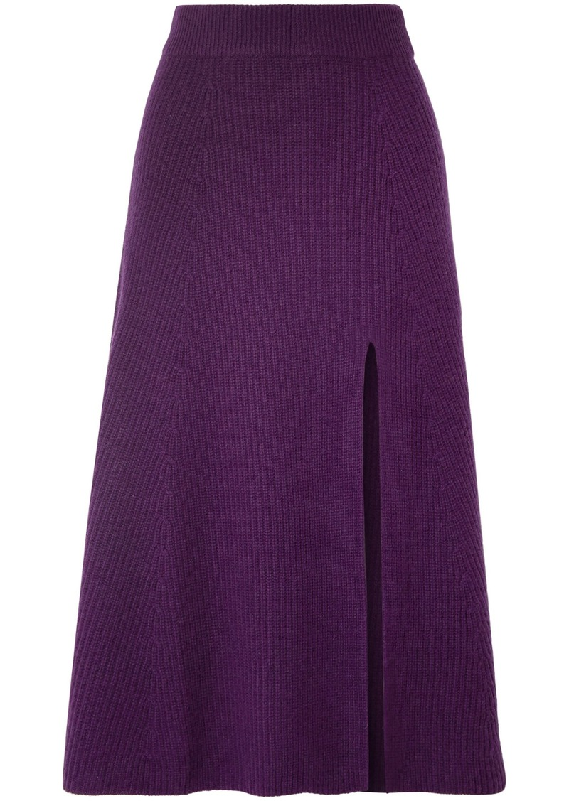 Altuzarra Woman Calvin Ribbed Cashmere Midi Skirt Purple