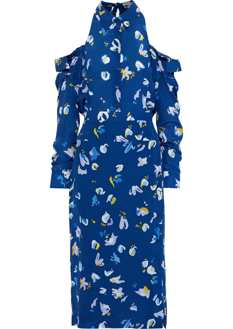 Altuzarra Woman Chiara Cold-shoulder Printed Silk-georgette Midi Dress Blue