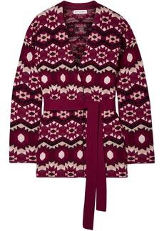 Altuzarra Woman Clearwater Reversible Jacquard-knit Cashmere Cardigan Plum