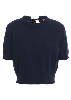 Altuzarra Woman Tuileries Cropped Wool And Cashmere-blend Top Midnight Blue