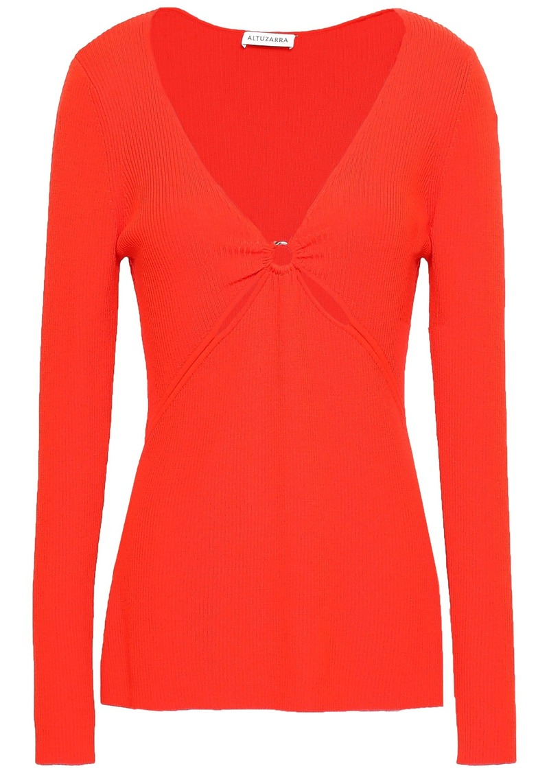 Altuzarra Woman Cutout Ribbed Wool-blend Top Tomato Red