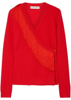 Altuzarra Woman Daumier Fringed Ribbed Merino Wool Wrap Sweater Tomato Red