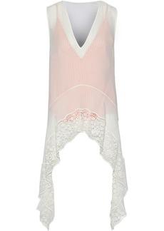 Altuzarra Woman Didy Draped Guipure Lace-paneled Silk-chiffon Top Off-white