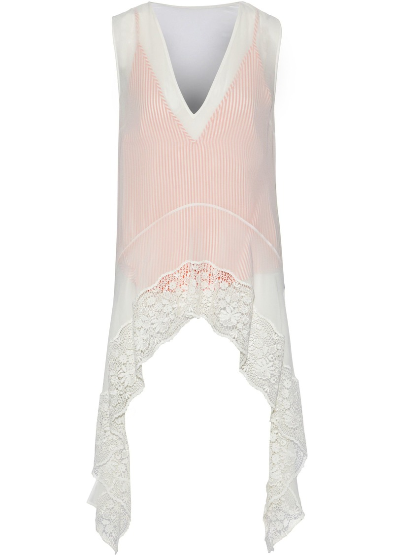 Altuzarra Woman Didy Draped Guipure Lace-paneled Silk-chiffon Top Off-white