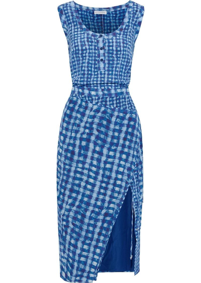 Altuzarra Woman Eleanora Checked Silk Crepe De Chine Dress Blue