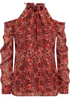 Altuzarra Woman Elijah Cold-shoulder Metallic Snake-print Silk-blend Top Crimson