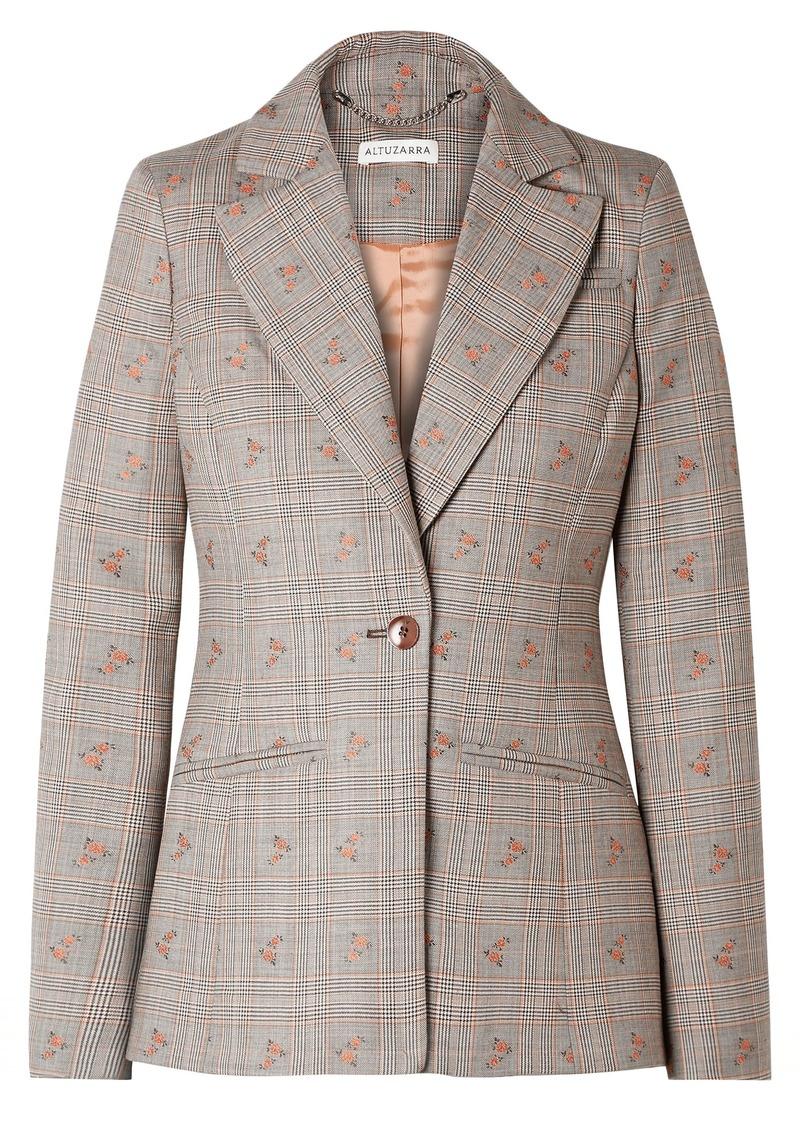 Altuzarra Woman Embroidered Checked Wool-blend Blazer Gray
