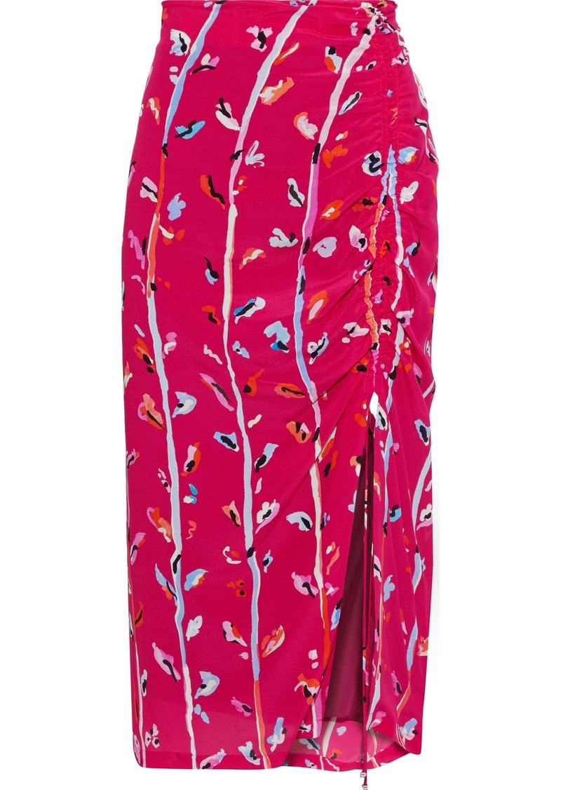 Altuzarra Woman Fausto Ruched Printed Silk Crepe De Chine Skirt Magenta