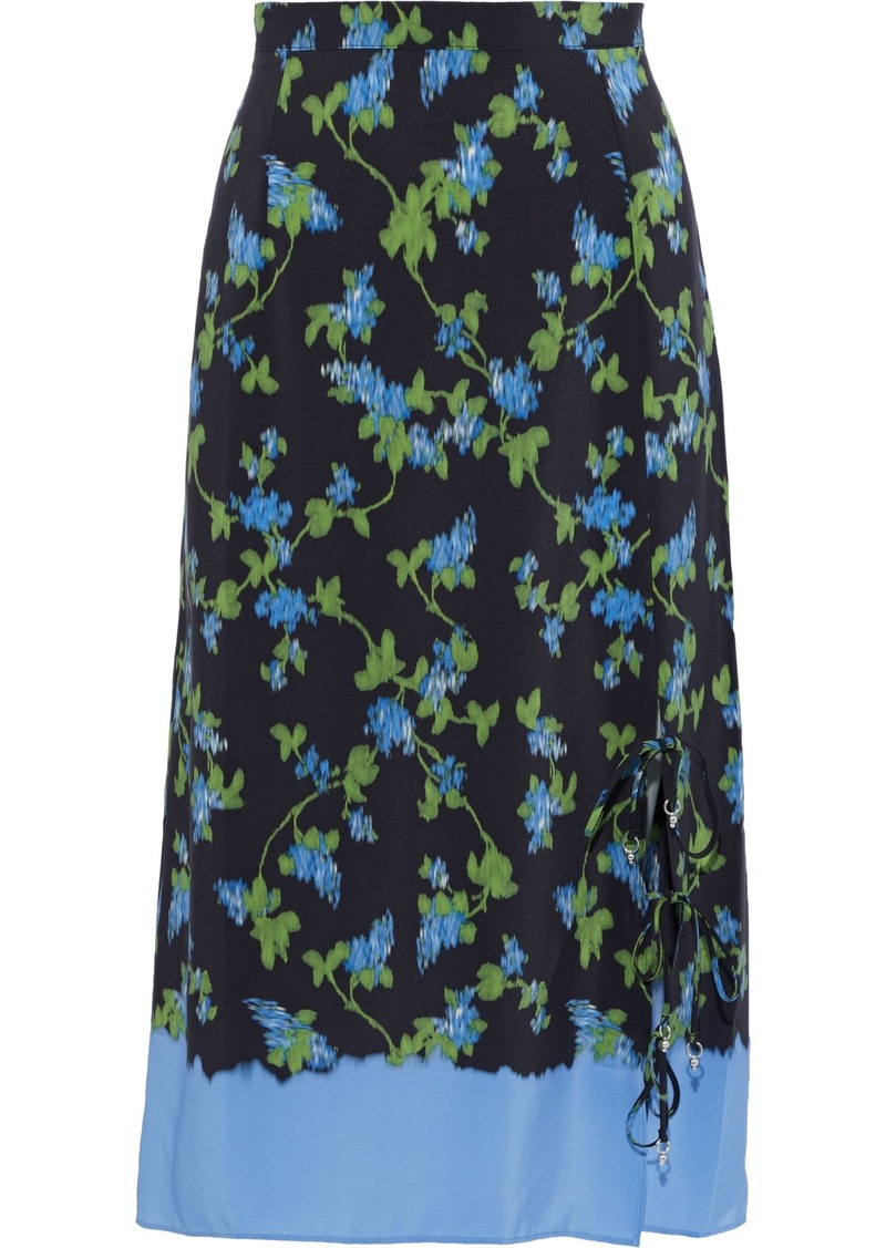 Altuzarra Woman Felice Lace-up Floral-print Silk Crepe De Chine Skirt Black