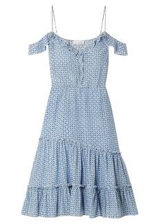 Altuzarra Woman Friday Cold-shoulder Floral-print Silk-crepe Dress Blue