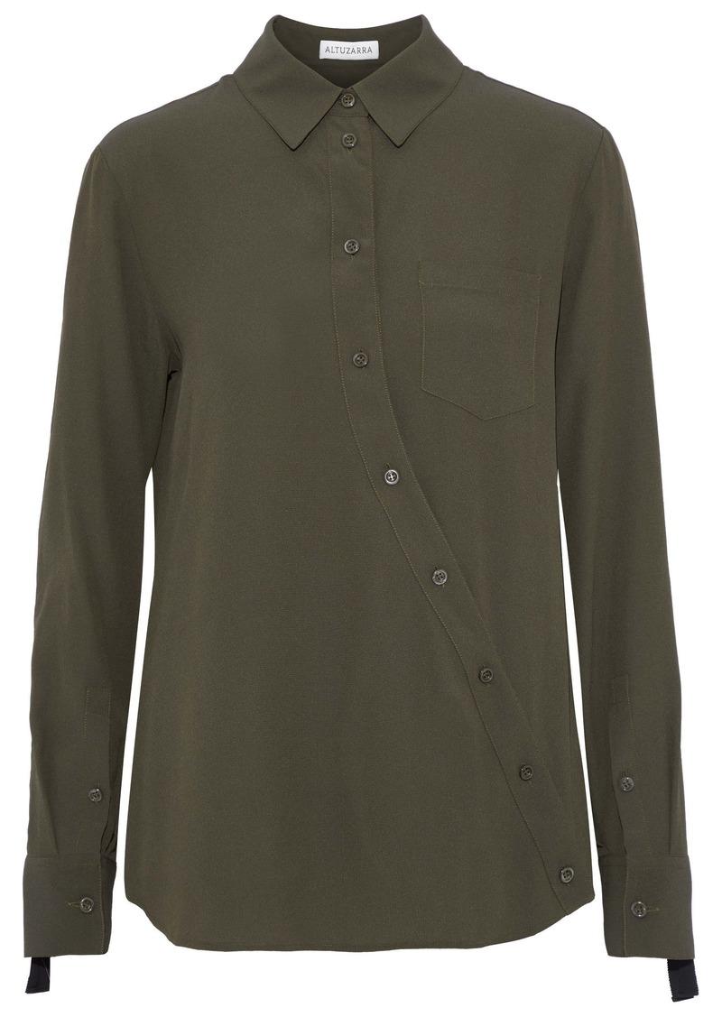 Altuzarra Woman Garcia Asymmetric Crepe De Chine Shirt Army Green