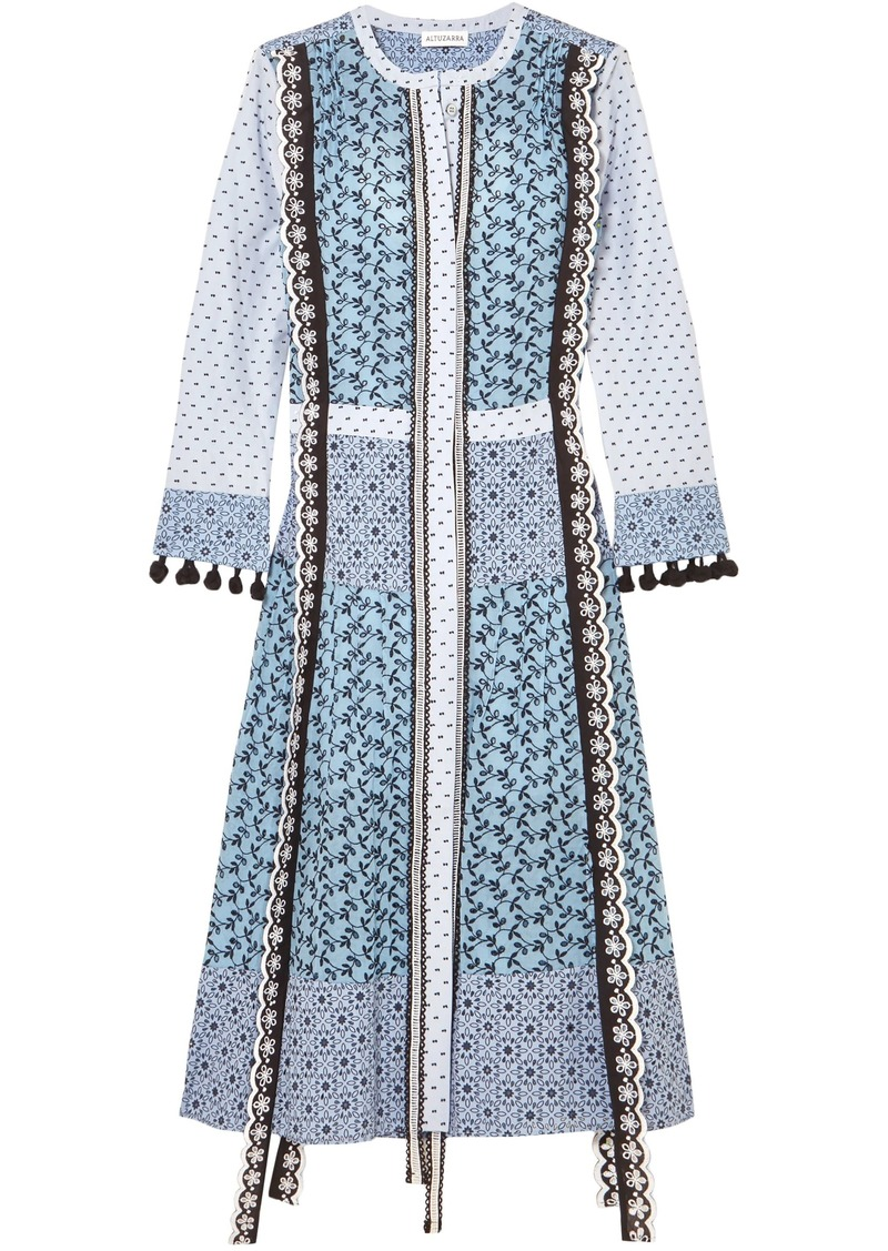 Altuzarra Woman Grenelle Broderie Anglaise And Swiss-dot Cotton Midi Dress Sky Blue