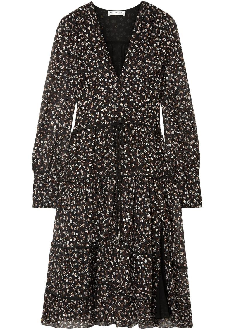 Altuzarra Woman Isabel Tiered Floral-print Silk-chiffon Dress Black