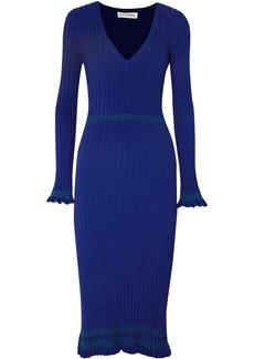 Altuzarra Woman Isolde Ribbed-knit Midi Dress Bright Blue