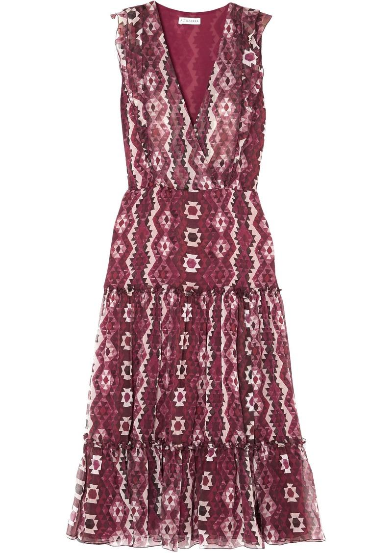 Altuzarra Woman Jorma Ruffled Printed Silk-georgette Midi Dress Plum