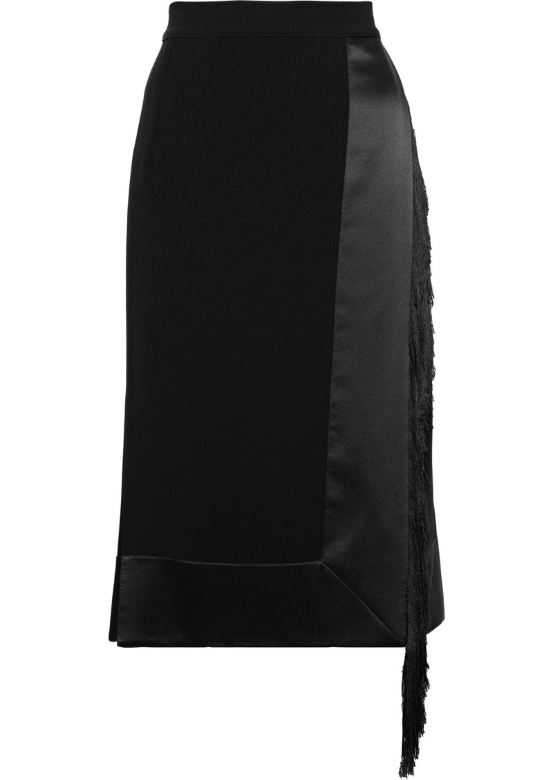 Altuzarra Woman Jude Fringe-trimmed Satin-paneled Crepe Skirt Black