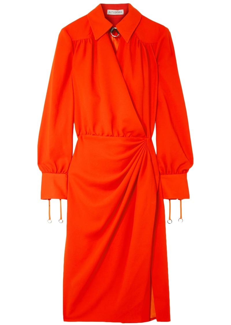 Altuzarra Woman Kat Leather-trimmed Draped Crepe Midi Dress Tomato Red