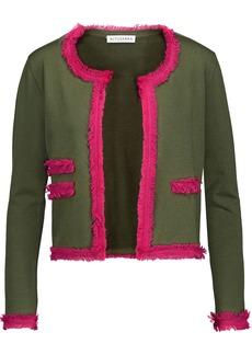 Altuzarra Woman Kirtland Fringed Stretch-knit Cardigan Army Green