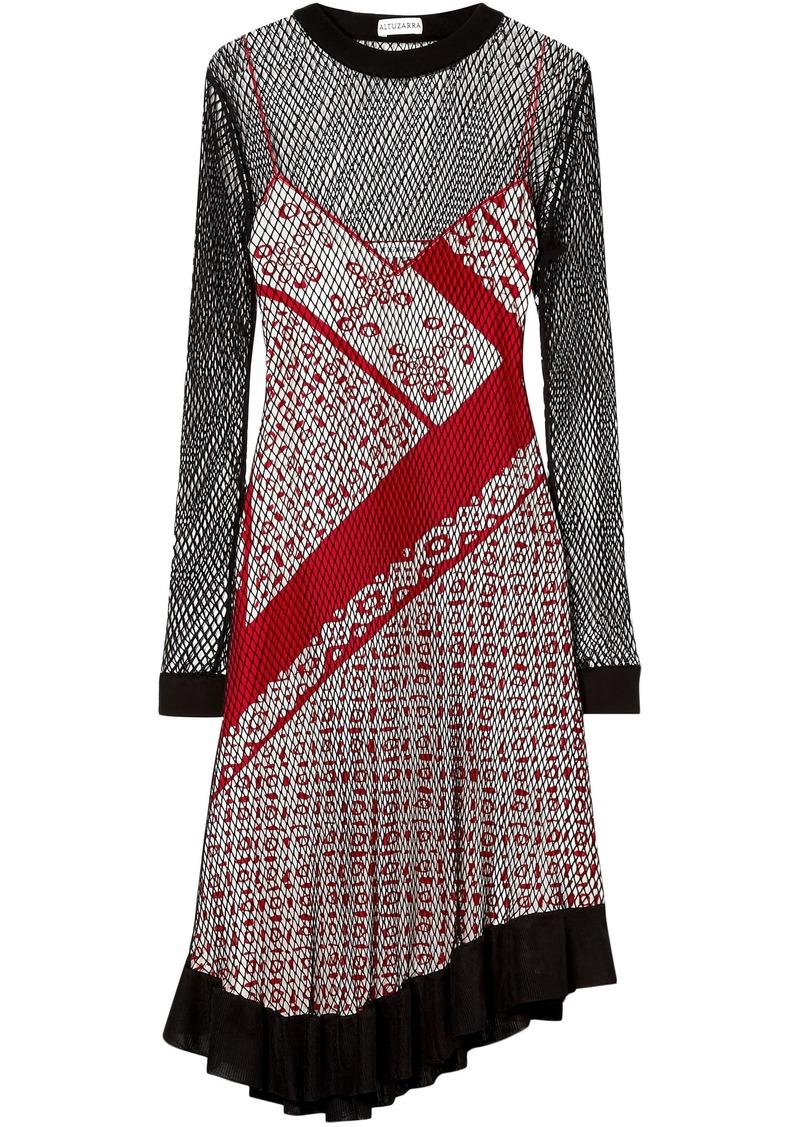Altuzarra Woman Kleber Layered Net And Printed Silk Dress Red