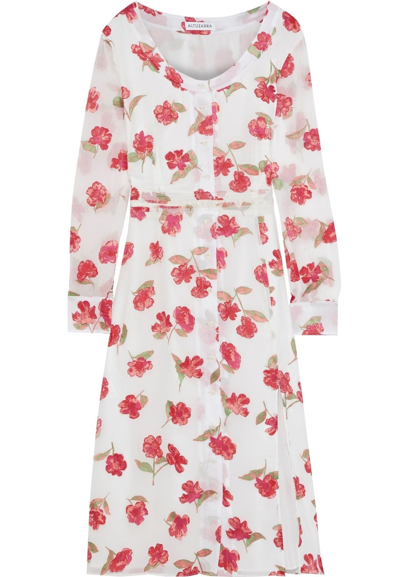 Altuzarra Woman Livia Floral-print Chiffon Dress White
