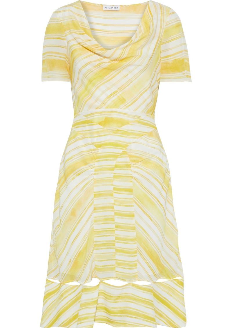 Altuzarra Woman Lucia Cutout Draped Striped Silk Crepe De Chine Dress Bright Yellow