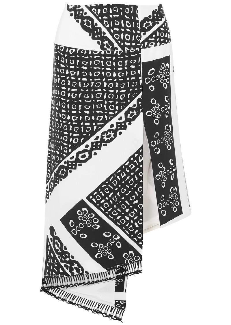 Altuzarra Woman Lumieres Asymmetric Tasseled Printed Silk Crepe De Chine Skirt Black
