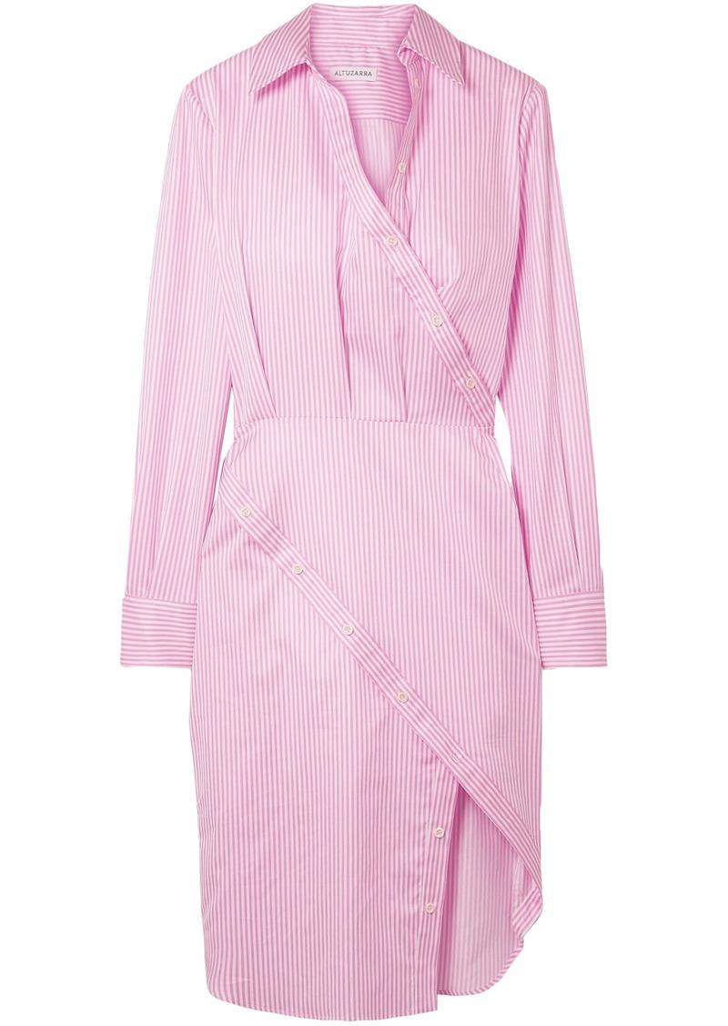 Altuzarra Woman Monday Striped Cotton-twill Shirt Dress Baby Pink