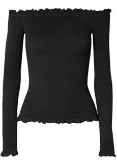 Altuzarra Woman Off-the-shoulder Smocked Stretch-knit Sweater Black