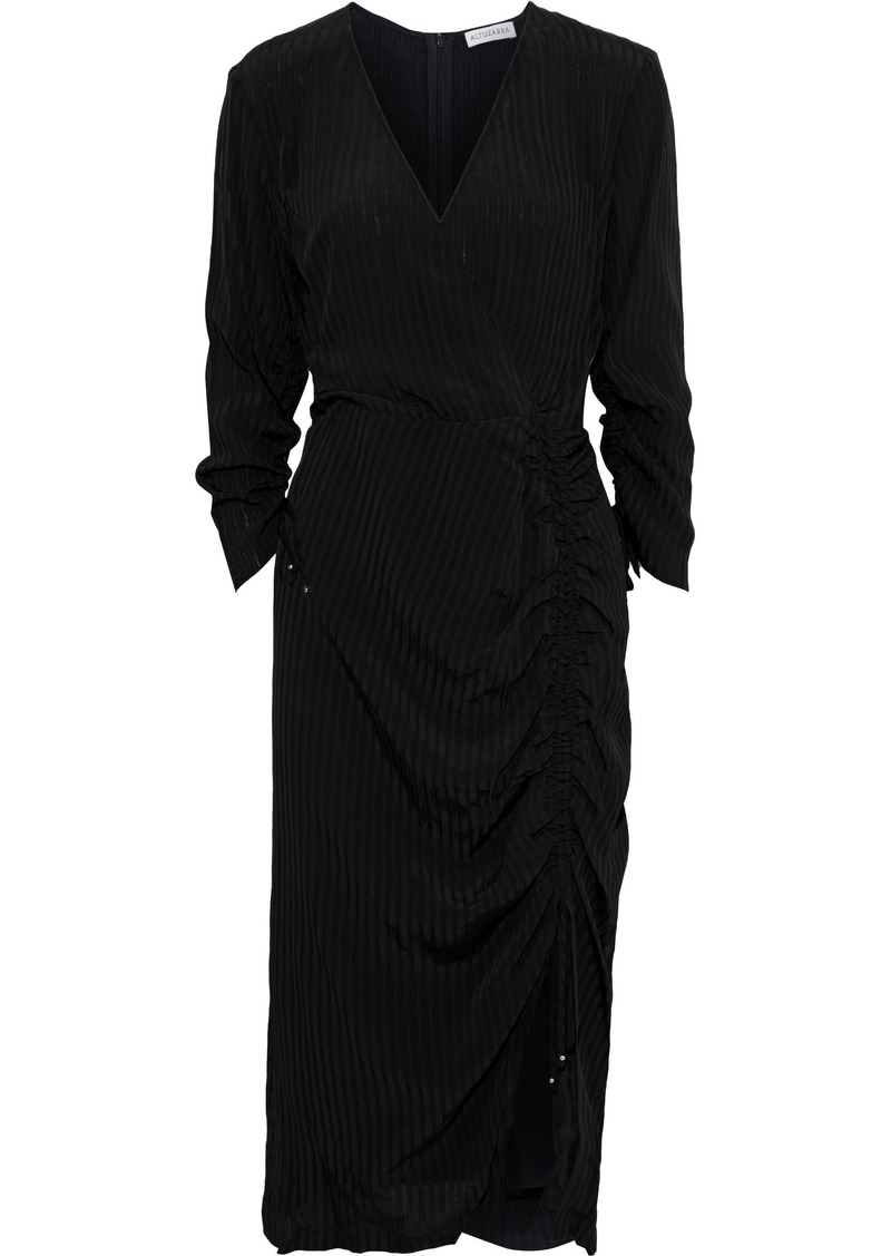 Altuzarra Woman Oriana Wrap-effect Ruched Textured-crepe Dress Black