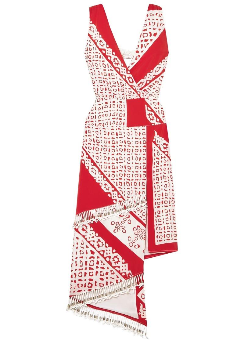 Altuzarra Woman Pavilion Embellished Wrap-effect Printed Silk Midi Dress Red