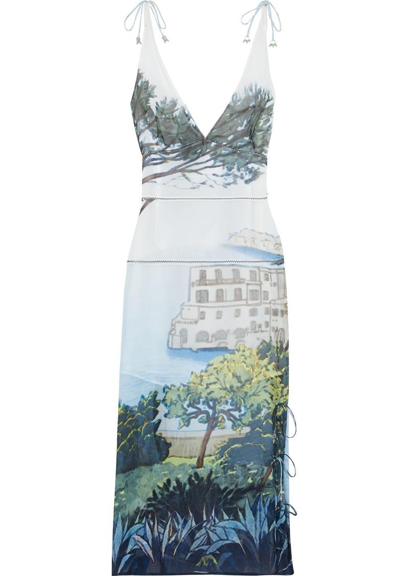 Altuzarra Woman Ponza Tie-detailed Printed Silk-georgette Midi Dress Multicolor