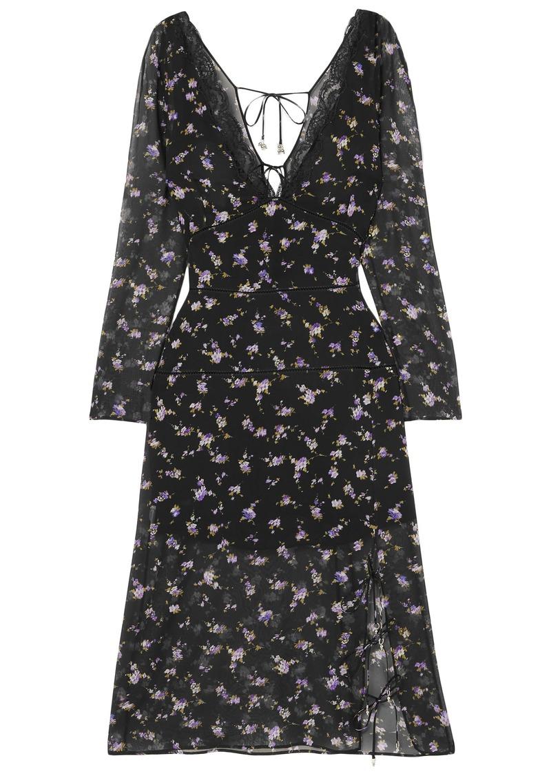 Altuzarra Woman Rosmarino Lace-trimmed Floral-print Silk-chiffon Dress Black