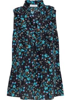 Altuzarra Woman Ruffle-trimmed Floral-print Silk Crepe De Chine Blouse Black