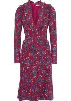 Altuzarra Woman Ruffle-trimmed Floral-print Silk Crepe De Chine Dress Plum
