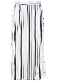 Altuzarra Woman Frayed Striped Woven Midi Skirt Off-white