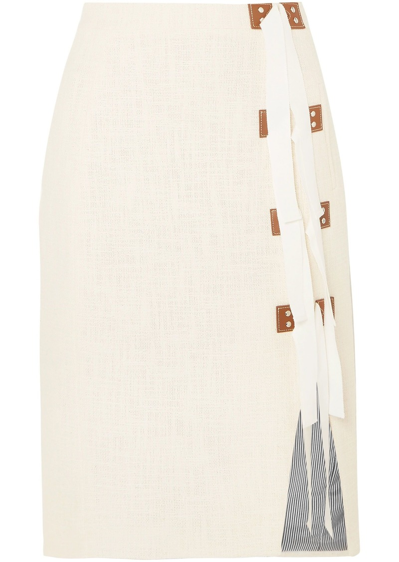 Altuzarra Woman Sorbonne Grosgrain And Leather-trimmed Cotton-tweed Skirt Off-white