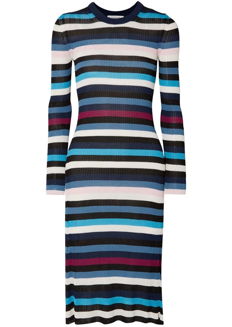Altuzarra Woman Stills Striped Ribbed-knit Midi Dress Blue