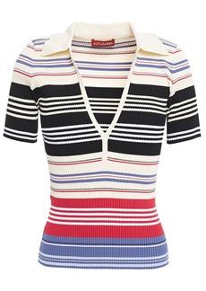 Altuzarra Woman Striped Ribbed-knit Top Cream