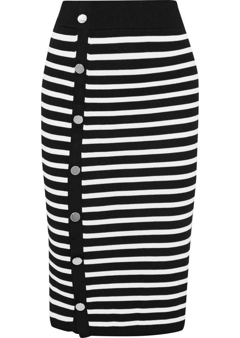 Altuzarra Woman Temio Button-detailed Striped Stretch-knit Pencil Skirt Black