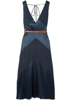 Altuzarra Woman Thursday Belted Silk-blend Satin And Crepe De Chine Midi Dress Navy