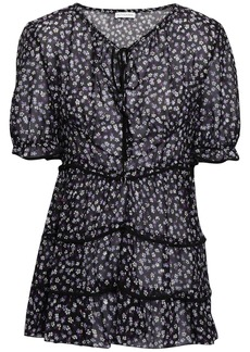 Altuzarra Woman Tiered Floral-print Fil Coupé Silk-blend Blouse Violet