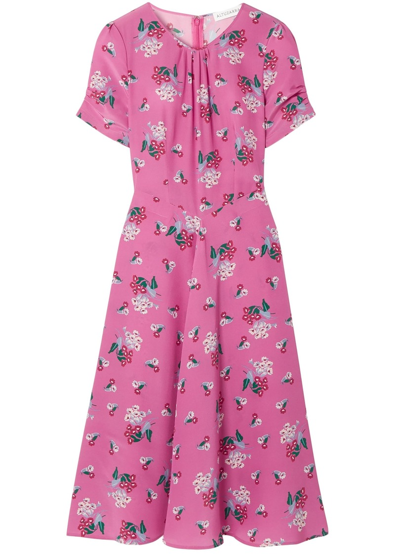 Altuzarra Woman Tuesday Floral-print Silk Crepe De Chine Dress Pink