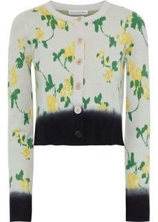 Altuzarra Woman Zannone Cropped Floral-intarsia Wool Cardigan Taupe