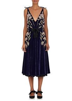 Altuzarra Women's Lisabetta Floral-Embroidered Velvet Dress