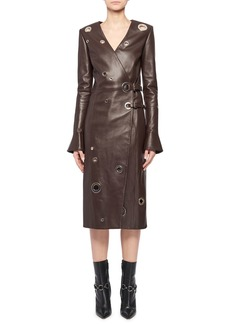 Altuzarra Angie Long-Sleeve Leather Wrap Grommets Midi Dress