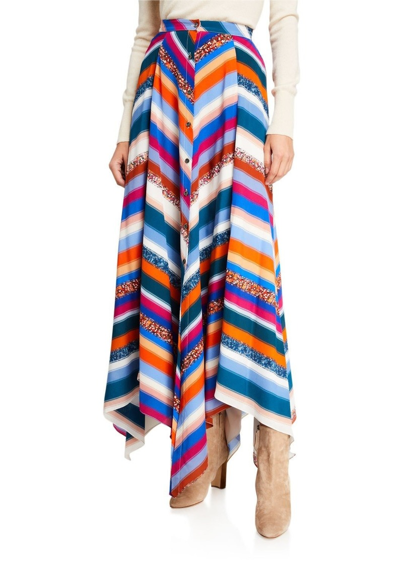 Altuzarra Aquarius Striped Silk Skirt